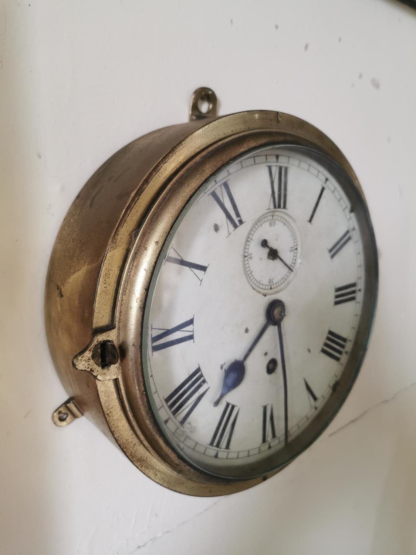 19th. C. brass ship's clock. - Image 2 of 2