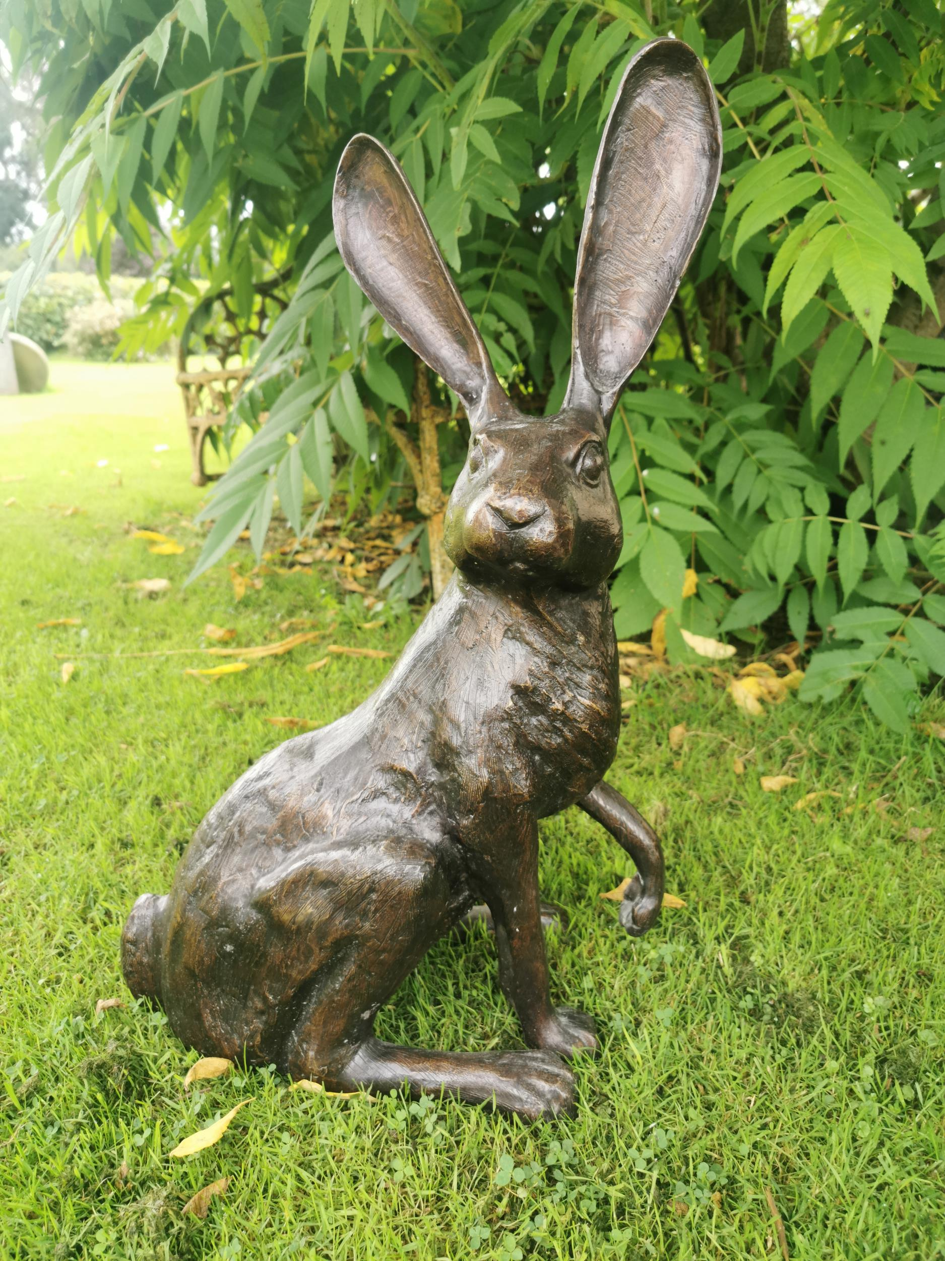 Bronze model of a seated hare