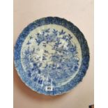 Chinese 19th C. blue and white ceramic charger.