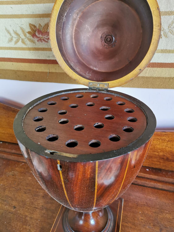 19th C. mahogany and satinwood inlaid knife box. - Image 2 of 4