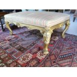 19th. C. giltwood upholstered French footstool.