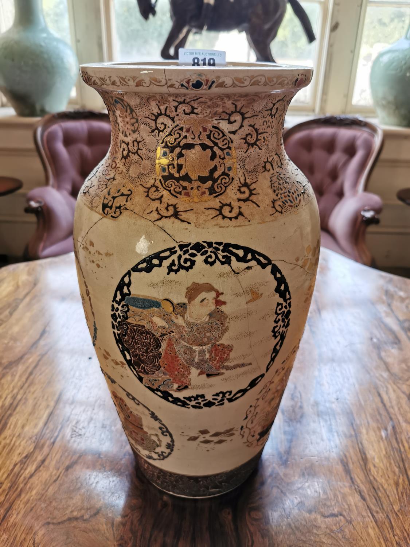 19th C. Oriental hand painted ceramic vase.