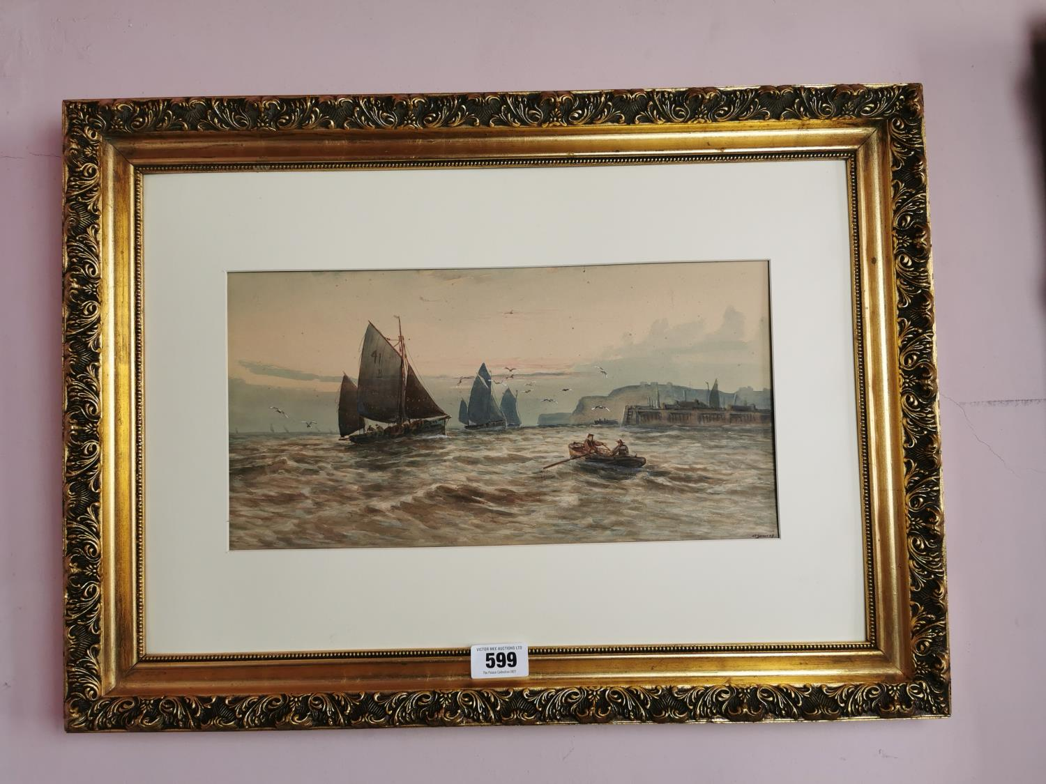 Early 20th C. watercolour Harbour scene.