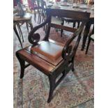 Mahogany metamorphic library chair.
