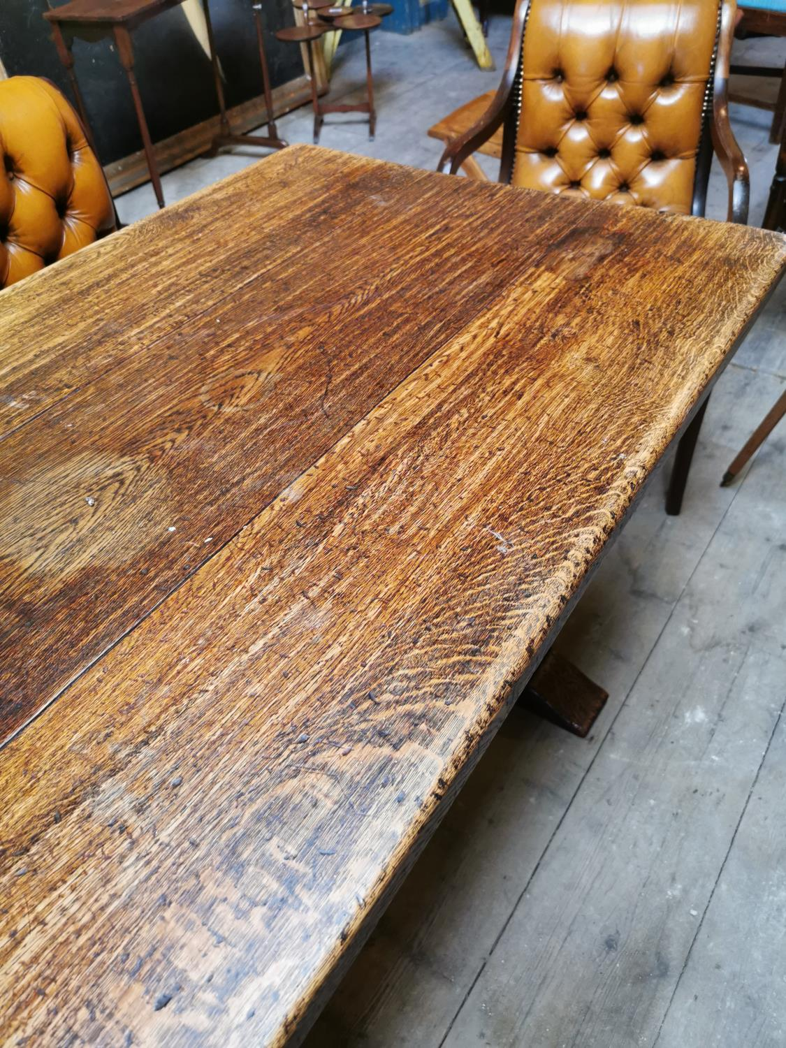 Early 20th C. oak refectory table. - Image 3 of 3