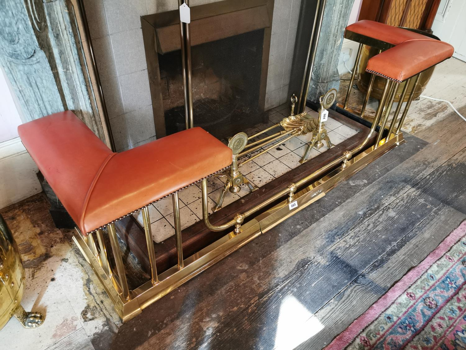 Brass extendable club fender with leather seats. - Image 2 of 3