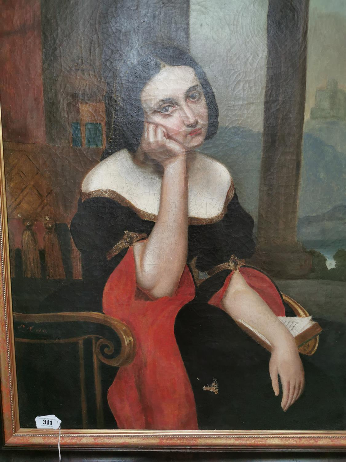 19th. C. Oil on Canvas Lady in Thought - Image 2 of 2