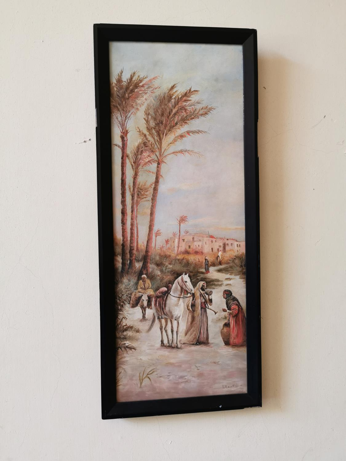 Pair early 20th C. oil on canvas Arabian scenes. - Image 3 of 3