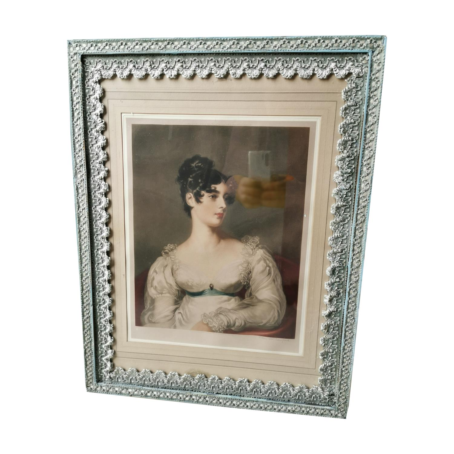Early 20th C. coloured print portrait of Lady.