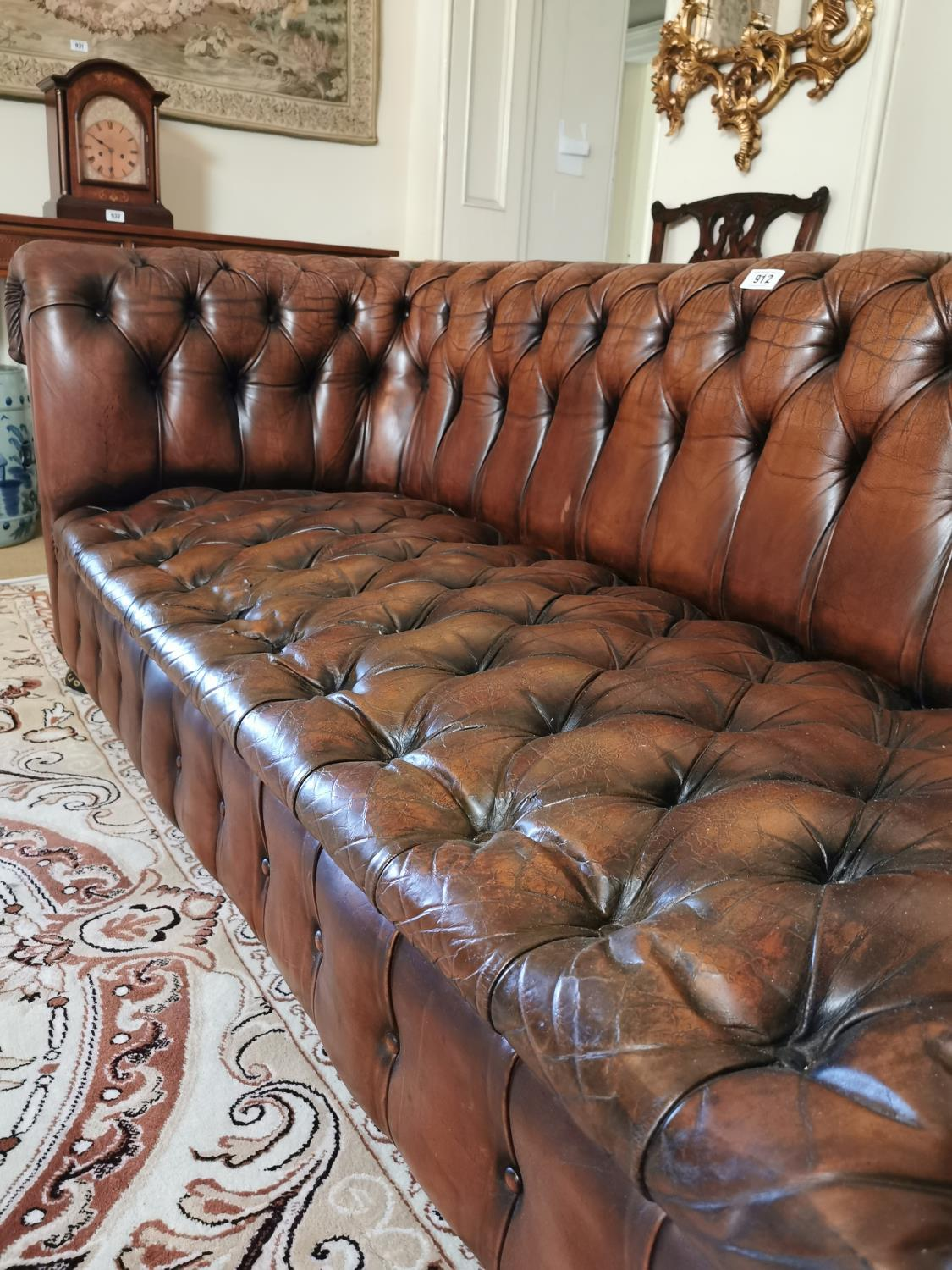 Hand dyed leather Chesterfield sofa. - Image 2 of 4