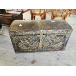 19th C. hand painted pine dome topped trunk.