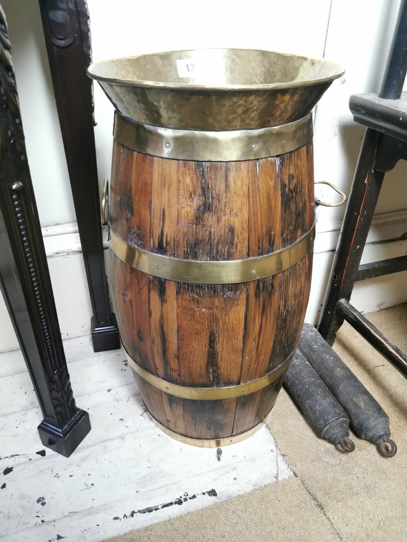 19th. C. brass bound oak stick stand.