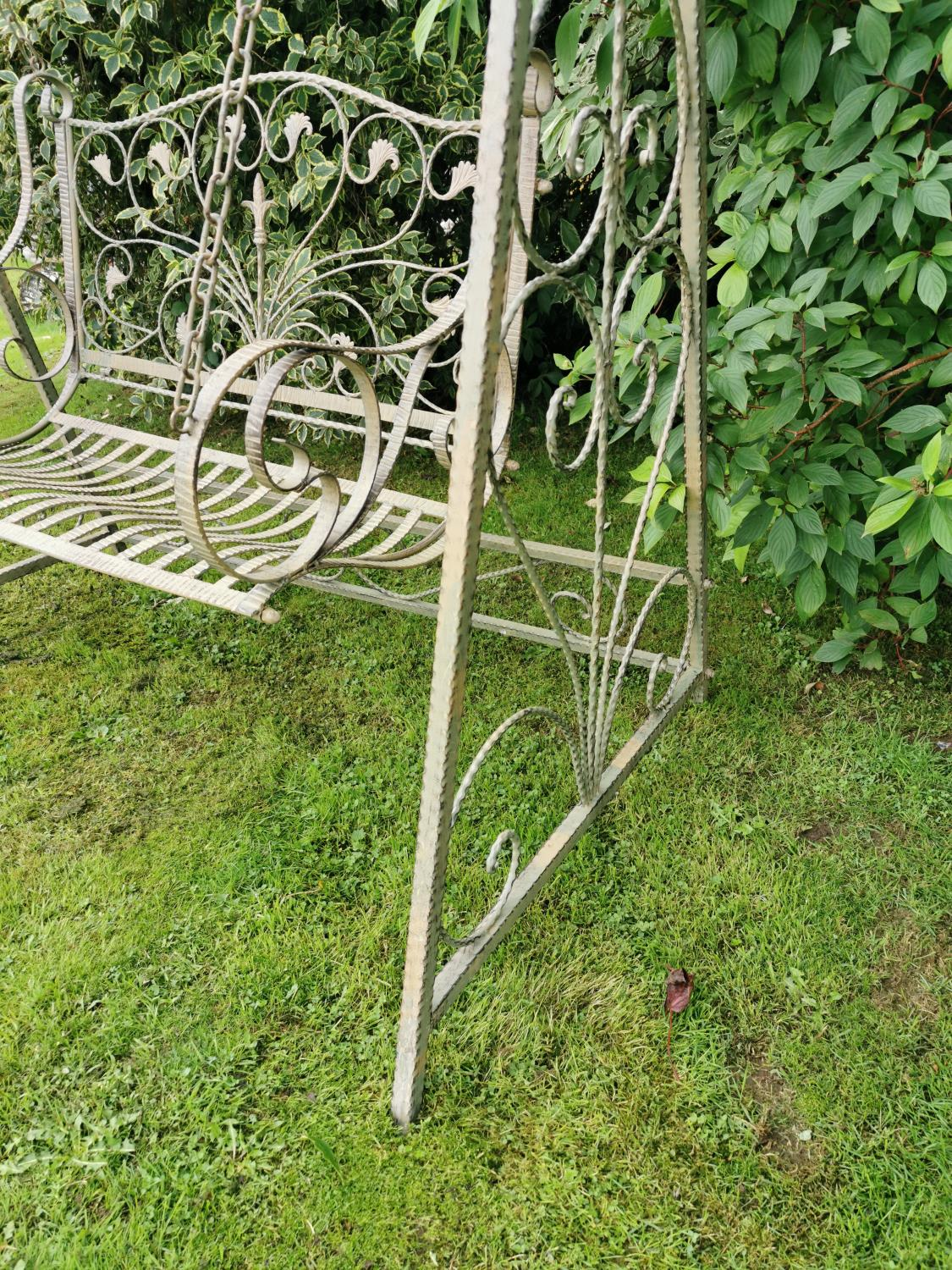 Wrought iron swing bench. - Image 2 of 5