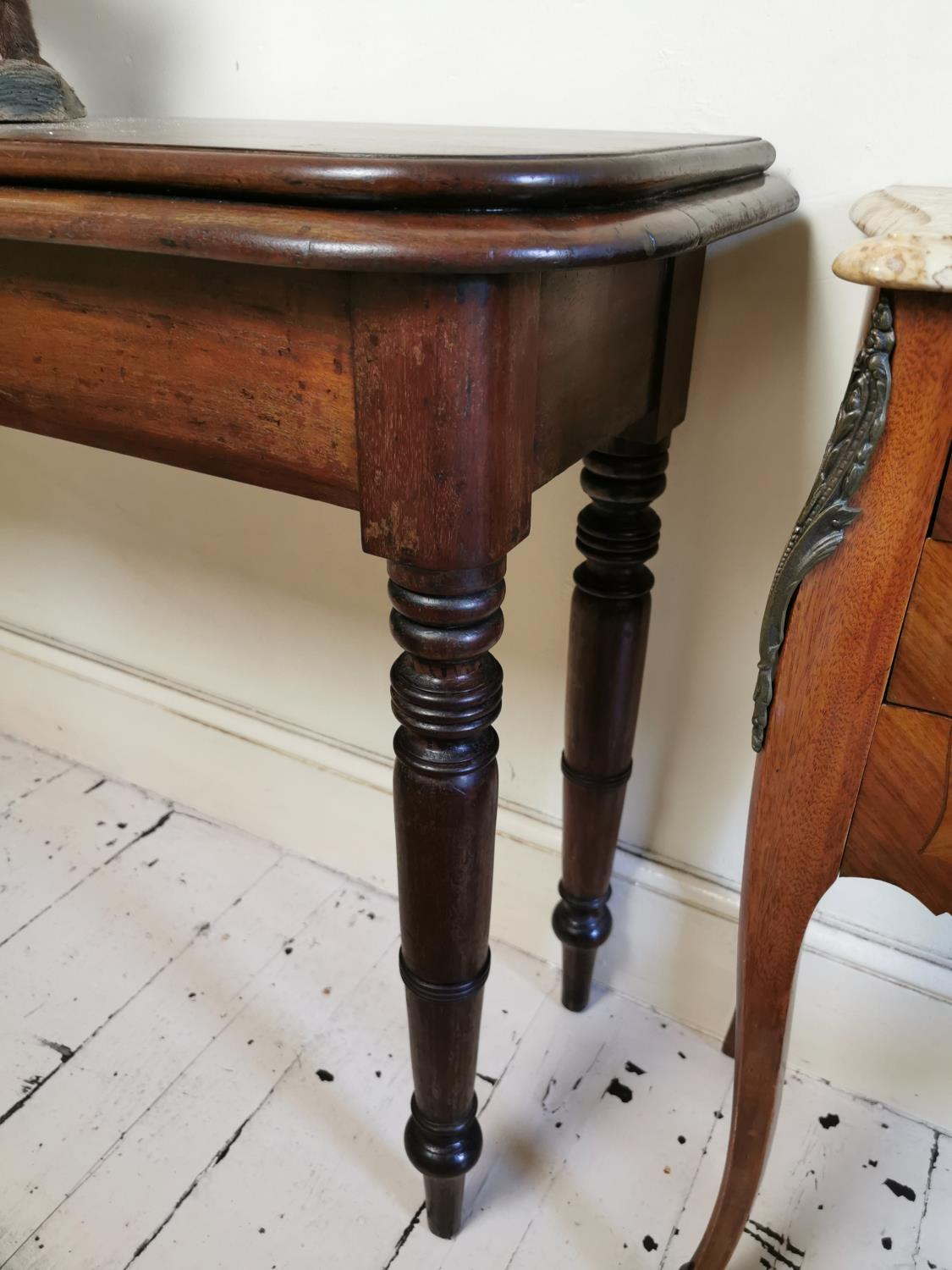 19th. C. mahogany D-end console table. - Image 2 of 2