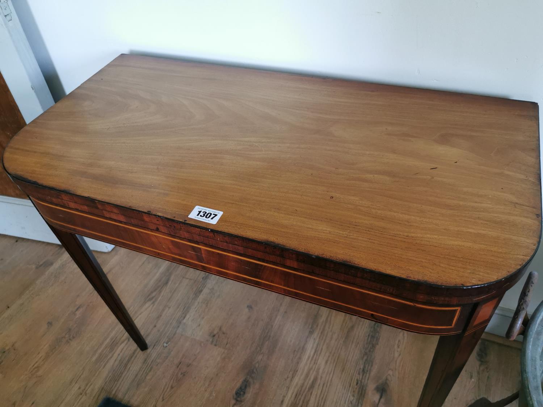 Georgian mahogany and satinwood card table. - Image 2 of 2