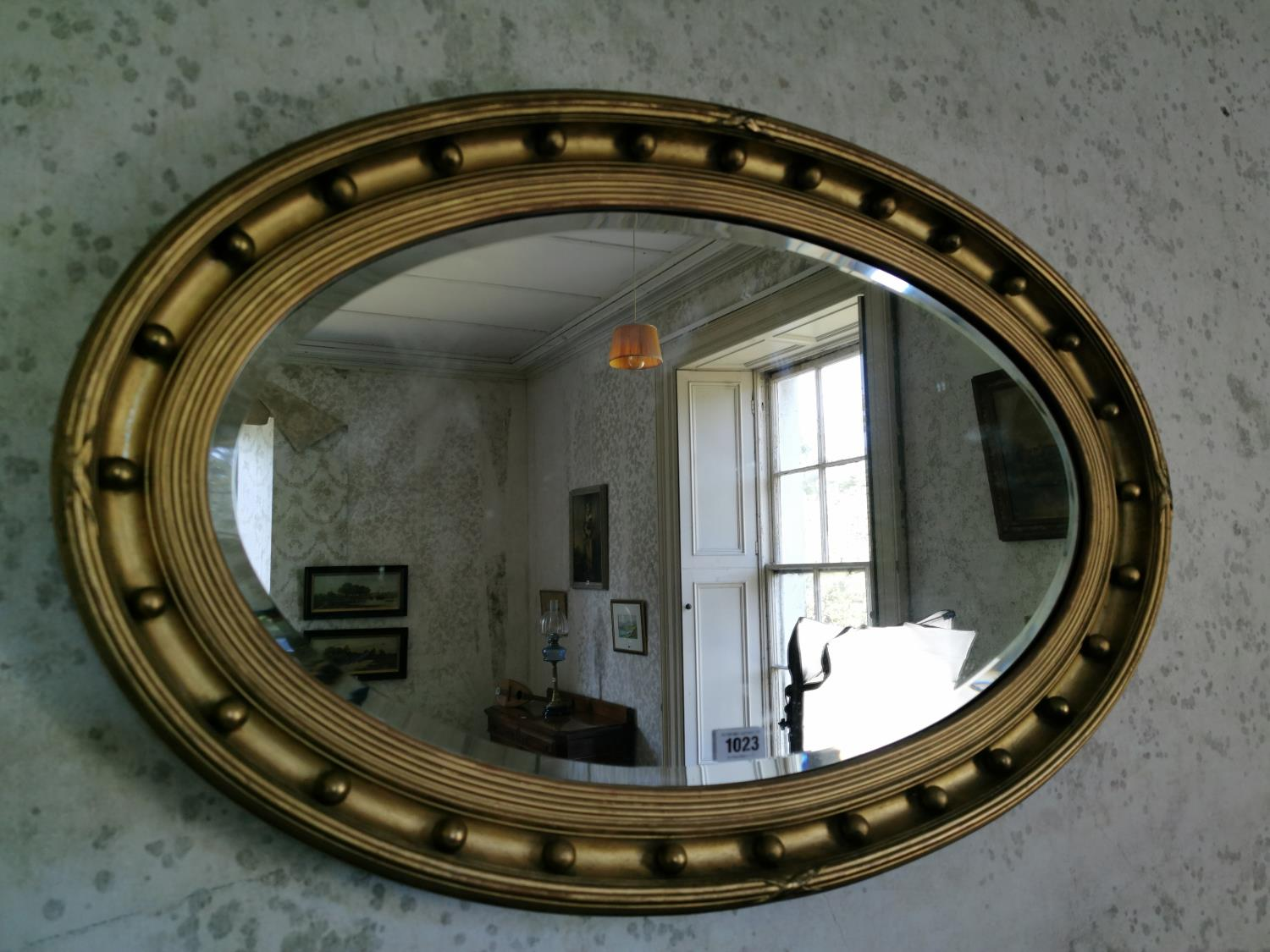 19th. C. giltwood over mantle mirror.