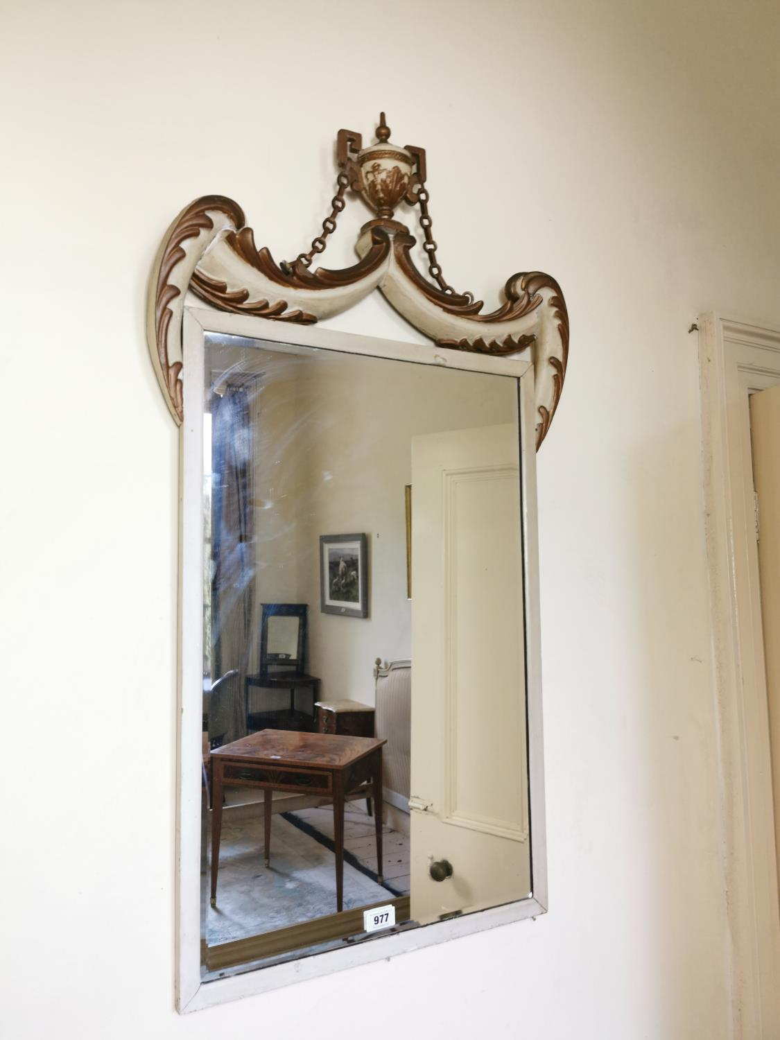 19th. C. giltwood and painted pine wall mirror.