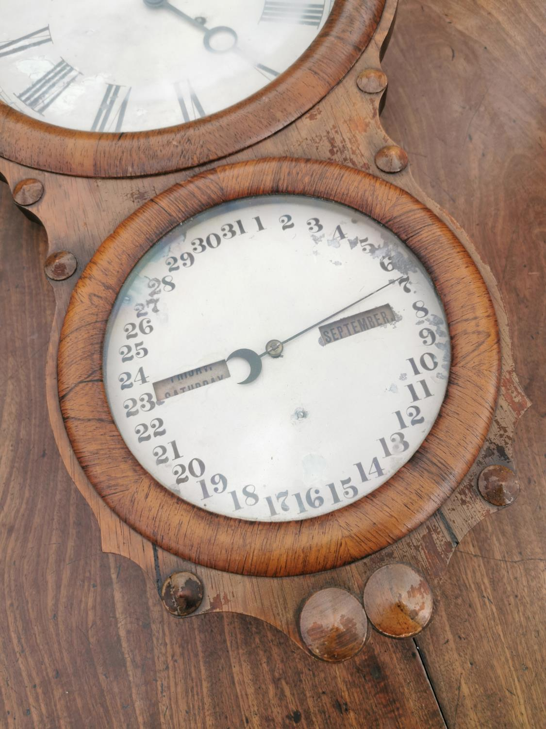 Rare Victorian rosewood institutional wall clock. - Image 2 of 3