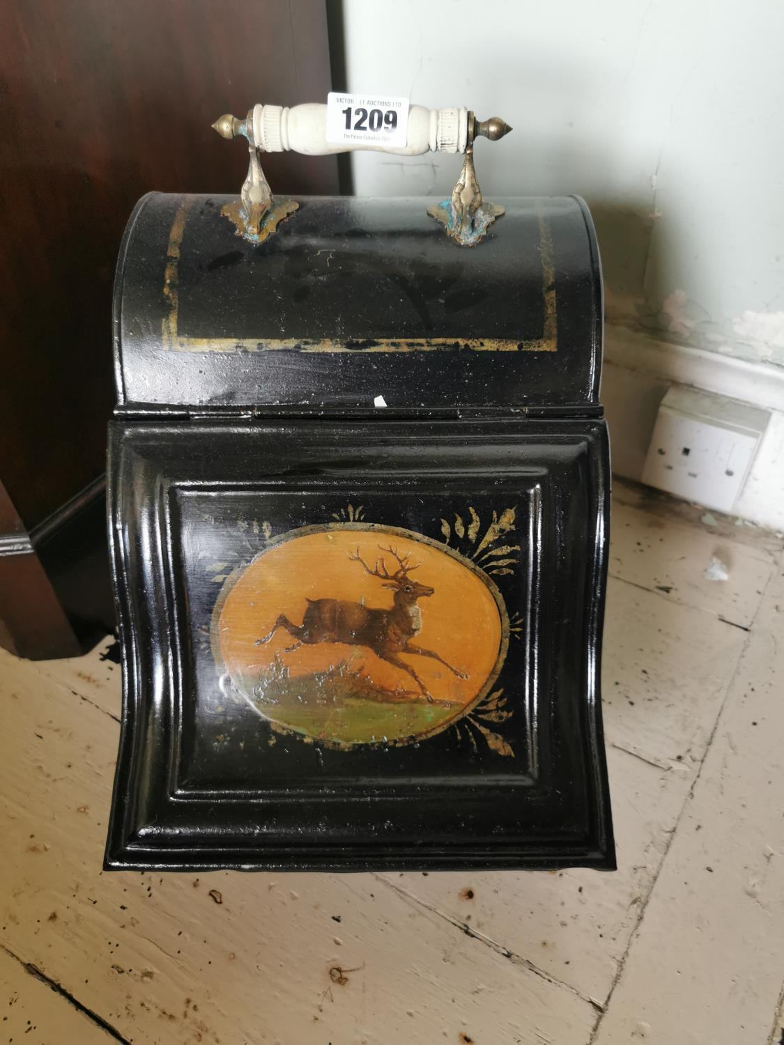 Early 20th C. hand painted metal coal skuttle. - Image 2 of 2