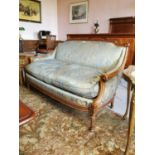 Edwardian carved walnut and upholstered three piece suite.