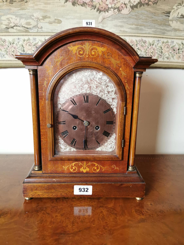 Edwardian inlaid mahogany bracket clock.