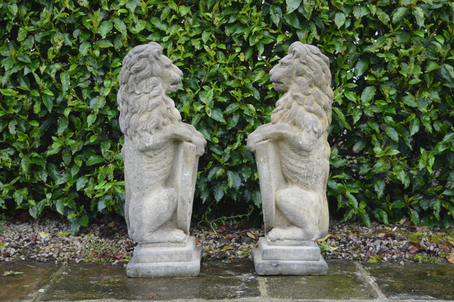 Pair of stone models of Lions. - Image 3 of 3