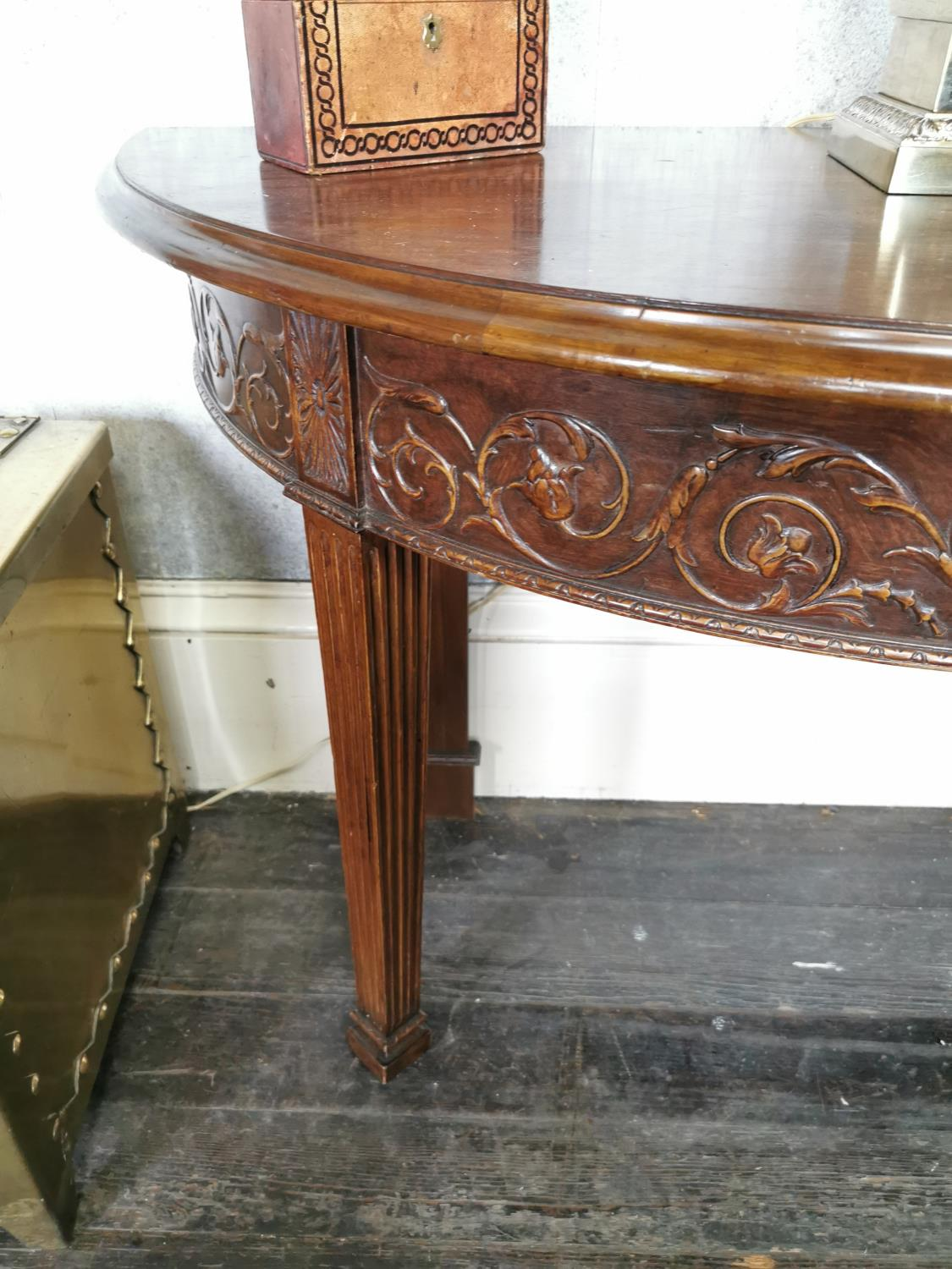 Pair of mahogany demi -lune side tables - Image 2 of 6