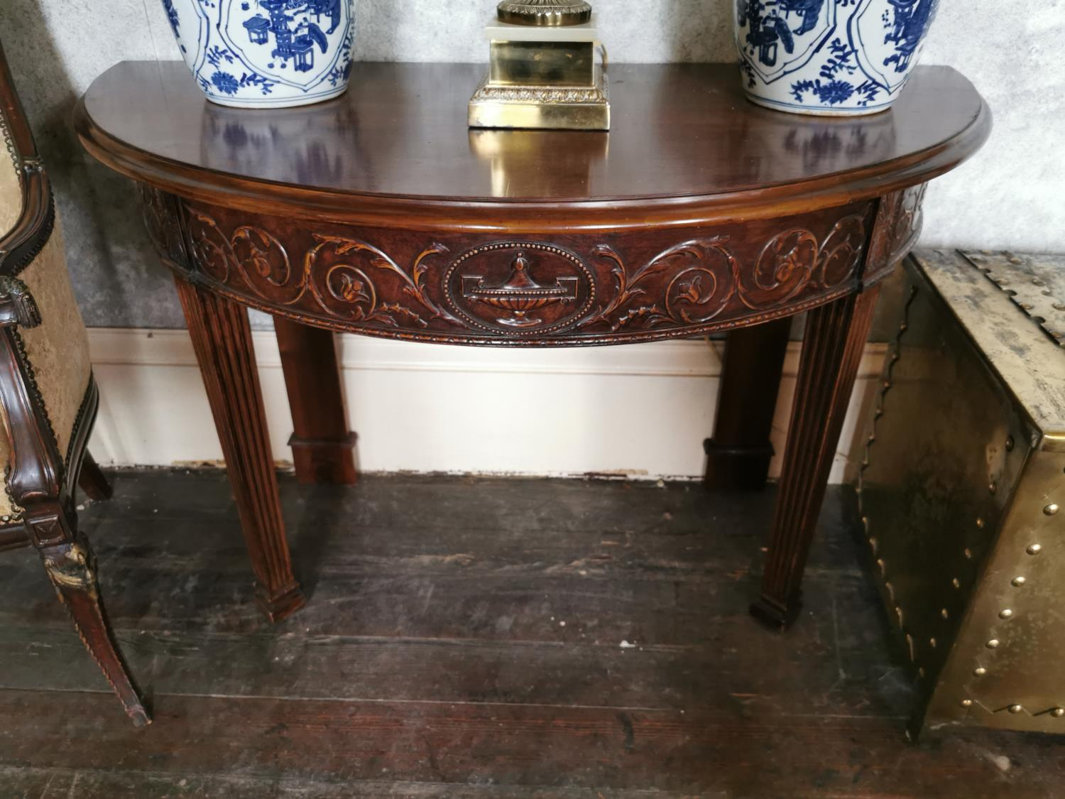 Pair of mahogany demi -lune side tables - Image 4 of 6