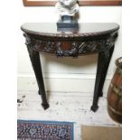 Edwardian mahogany demi - lune side table