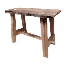 Early 20th C. rustic oak stool