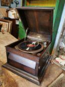 19th. C. oak gramophone