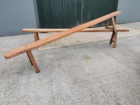 Pair of 19th C. fruit wood benches.