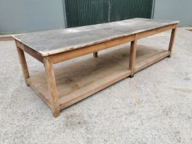 19th C. pine kitchen table.