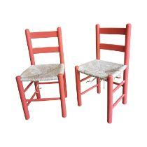 Pair of painted pine sugan chairs.