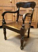 19th. C. mahogany open armchair