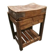 Pine butchers block on stand