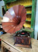 Edwardian oak Columbia gramophone