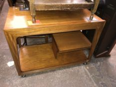 1970S TEAK COMBINATION TROLLEY WITH DRAWER AND SLIDING TOP
