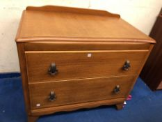 OAK PLY TWO DRAWER CHEST AND BEDSIDE CUPBOARD