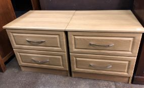 PAIR OF LIGHT OAK EFFECT TWO DRAWER BEDSIDE CHESTS