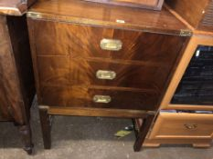 MAHOGANY FAUX DRAWER FRONTED CABINET WITH MILITARY BRASS HANDLES