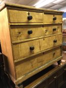 VICTORIAN PINE TWO OVER THREE DRAWER CHEST