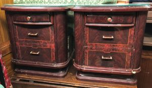 PAIR OF POLISHED SIMULATED WALNUT THREE DRAWER BEDSIDE CHESTS