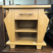 LIGHT OAK MAGAZINE LAMP TABLE WITH DRAWER