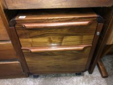 ROSEWOOD TWO DRAWER MOBILE CHEST OF DRAWERS