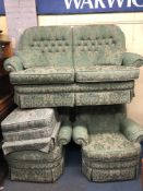 GREEN BROCADE FLORAL THREE PIECE SUITE AND STORAGE FOOTSTOOL
