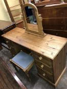 PINE KNEEHOLE DRESSING TABLE WITH STOOL AND PINE TOILET MIRROR