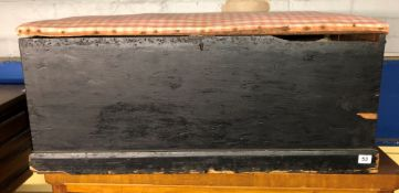 BLACK PAINTED PINE TRUNK WITH SIDE CARRYING HANDLES 88CM WIDTH