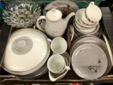 CARTON CONTAINING ROYAL DOULTON FROST PINE TABLEWARES AND PART TEA SERVICE