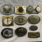 TUB OF USA RELATED METAL BELT BUCKLES INCLUDING DOUBLE ONE DOLLAR COIN MOUNTED BUCKLE AND OTHER